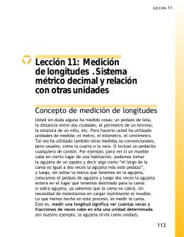 Lección 11: Medición de longitudes . Sistema métrico