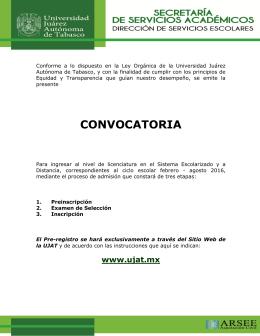 Convocatoria del Proceso  - Universidad Juárez Autonoma de
