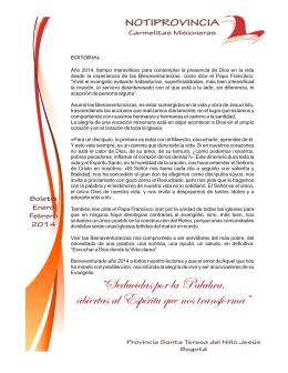 Notiprovincia enero 2014 - Carmelitas Misioneras Bogota