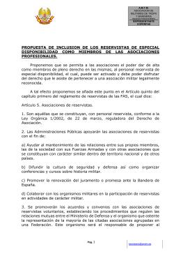 PROPUESTA DE INCLUSION DE LOS RESERVISTAS DE