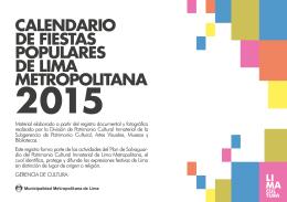 Calendario de Fiestas Populares de Lima 2015