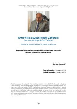 Entrevista a Eugenio Raúl Zaffaroni