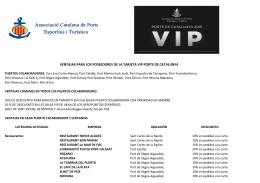 Ventajas tarjeta VIP ordenadas por actividades y tipo de