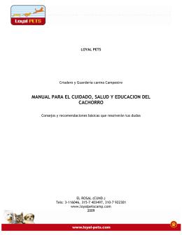 manual para el cuidado, salud y educacion del cachorro