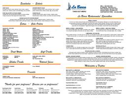 Imprimir Menu - La Barca Restaurantes