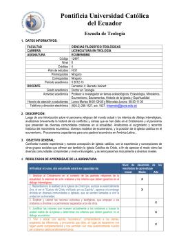 Ecumenismo - Pontificia Universidad Católica del Ecuador