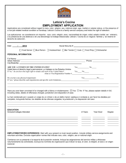 EMPLOYMENT APPLICATION - Leticias Mexican Cocina