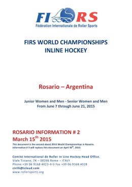 FIRS WORLD CHAMPIONSHIPS INLINE HOCKEY Rosario