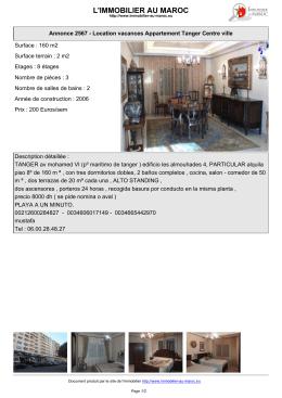 Immobilier au Maroc : Location vacances Tanger Centre ville