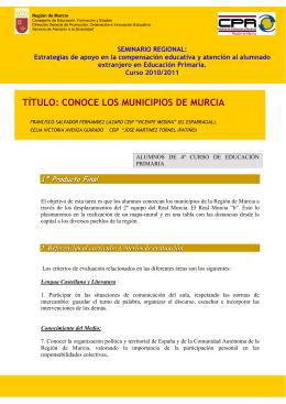 TÍTULO: CONOCE LOS MUNICIPIOS DE MURCIA