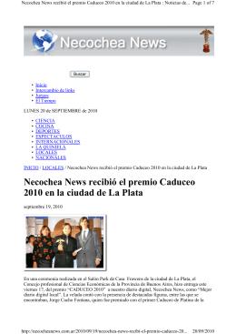 Necochea News recibió el premio Caduceo 2010 en la