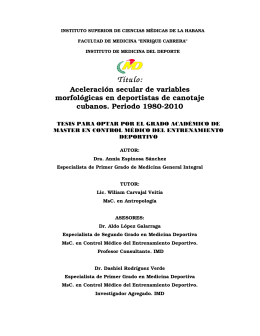 Título: - Instituto de Medicina Deportiva de Cuba
