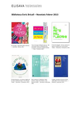 Biblioteca. Adquisiciones Febrero 2013