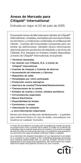 Anexo de Mercado para Citigold® International