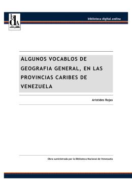 ALGUNOS VOCABLOS DE GEOGRAFIA GENERAL, EN LAS