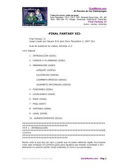 La Guía de Final Fantasy 12