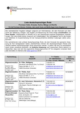 Liste deutschsprachiger Ärzte - Deutsche Vertretungen in Spanien