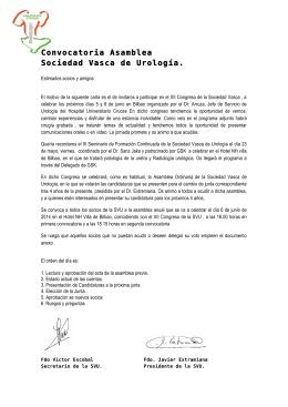 Convocatoria Asamblea Sociedad Vasca de Urología.