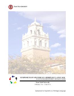 Symposium on Spanish as a Heritage Language
