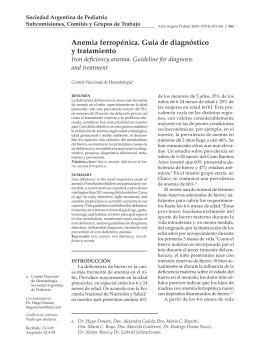 anemia ferropénica. Guía de diagnóstico y tratamiento
