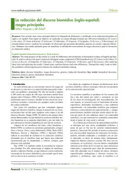 La redacción del discurso biomédico (inglés-español