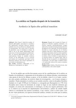 La estética en España después de la transición Aesthetics in Spain