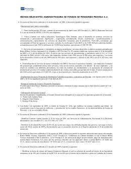 HECHOS RELEVANTES ADMINISTRADORA DE