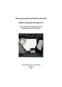 Obras para piano de Honorio Siccardi. Música argentina del siglo XX.