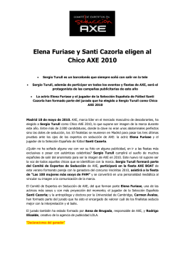 Elena Furiase y Santi Cazorla eligen al Chico AXE 2010
