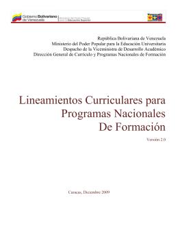 Lineamientos Curriculares para Programas Nacionales De Formación