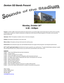 Denton ISD Bands Present Monday, October 26th 6:30 – 8:00pm