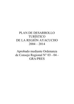 PLAN DE DESARROLLO TURÍSTICO DE LA REGIÓN AYACUCHO