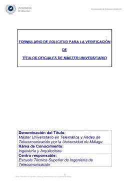 Máster Universitario en Telemática y Redes de Telecomunicación.