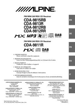 CDA-9815RB CDA-9813R CDA-9812RB CDA