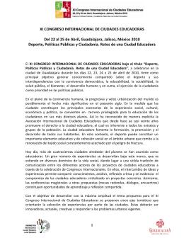 XI CONGRESO INTERNACIONAL DE CIUDADES