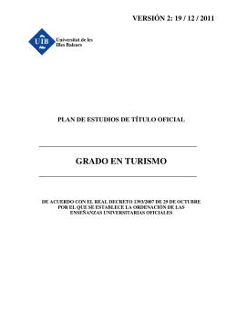 GRADO EN TURISMO - SEQUA - Universitat de les Illes Balears