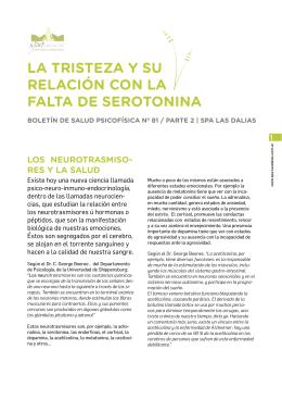 La TrisTeza Y su reLación con La FaLTa De seroTonina
