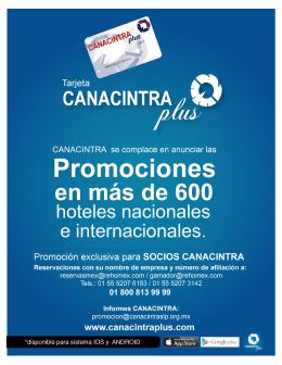 Page 1 Convenios Hoteles CANACINTRA Plus Page 2 Convenios