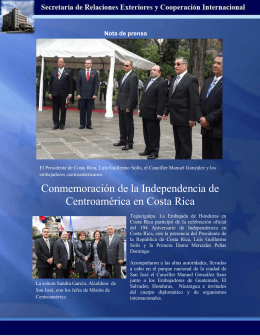 Conmemoración de la Independencia de Centroamérica en Costa