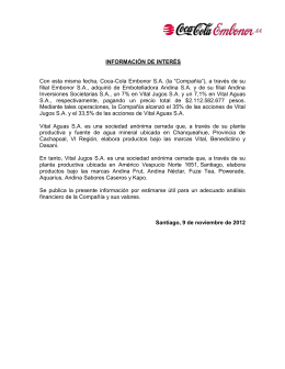 INFORMACIÓN DE INTERÉS Con esta misma fecha, Coca