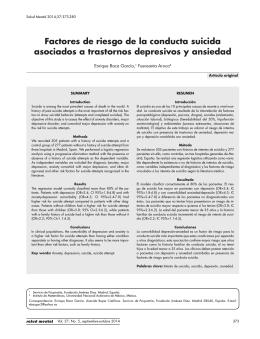 Factores de riesgo de la conducta suicida asociados a trastornos