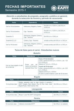 FECHAS IMPORTANTES - Universidad EAFIT