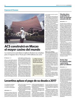 ACS construirá en Macao el mayor casino del mundo
