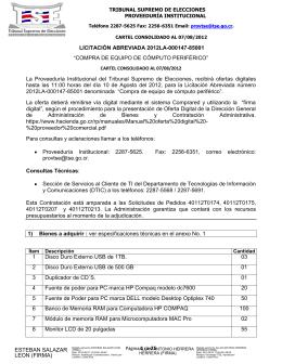 2012LA-000147-85001 Equipo Cómputo Periférico