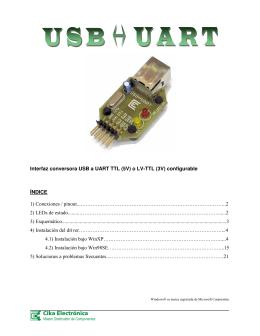 Interfaz conversora USB a UART TTL (5V) o LV