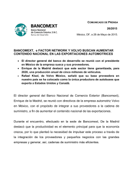 BANCOMEXT, e FACTOR NETWORK Y VOLVO BUSCAN