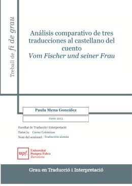 Análisis comparativo de tres traducciones al castellano del cuento