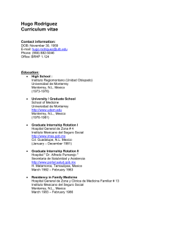 Hugo Rodriguez Curriculum vitae - The University of Texas at