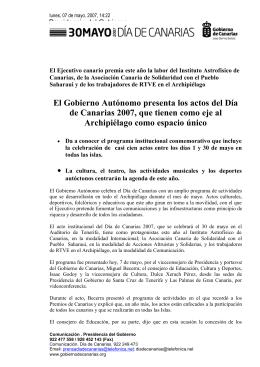 Programa de actos del Gobierno Autónomo para el Día de Canarias