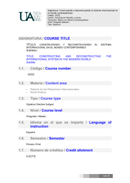 ASIGNATURA / COURSE TITLE 1.1. Código / Course number 1.2
